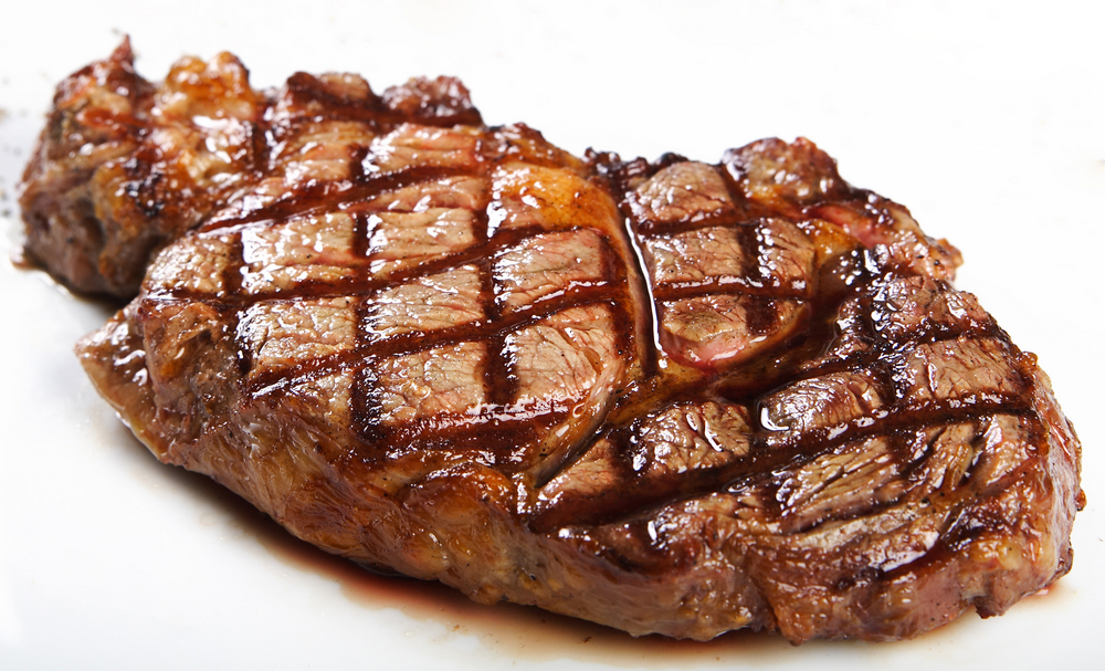 Black Angus rib eye steak from Argentina, grilled at our