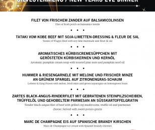 ASADO'S SILVESTERMENÜ / NEW YEAR'S EVE MENU